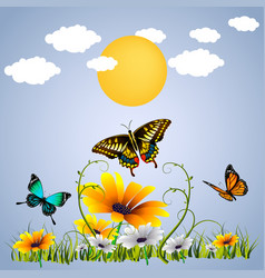 butterfly and flower sunset background imag vector image