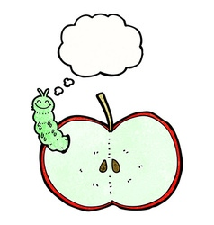 cartoon bug eating apple with thought bubble vector image