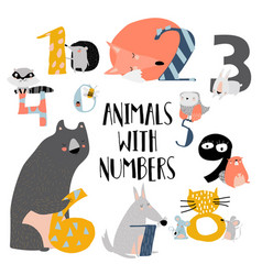cartoon numbers set from one vector image