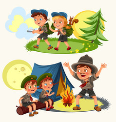 cartoon scouting children mentor guides outdoor vector image