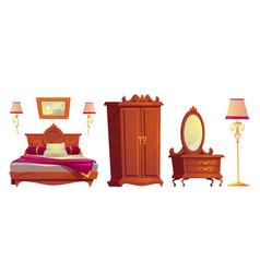 Cartoon wooden furniture for luxury bedroom vector
