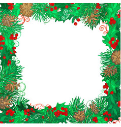 christmas festive frame on white background vector image