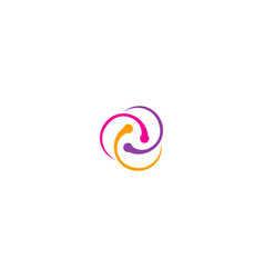 Circle connection colorful orbit logo vector