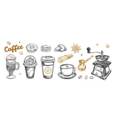 Coffee and coffee to go set hand drawn vector