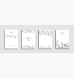 collection christmas cards creative hand drawn vector image