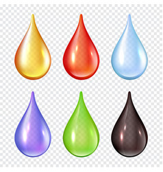 colored drops splashes paint liquid realistic vector image