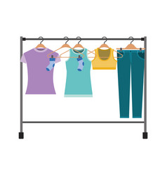 Colorful silhouette of female clothes rack with t vector