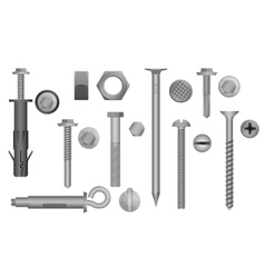 Construction Hardware set Bolts Screws Nuts and vector