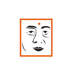 creative monk face line art vector image