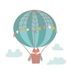 Cute cartoon fox on a hot air balloon in sky vector