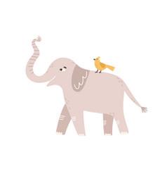 cute childish gray elephant raising up trunk vector image