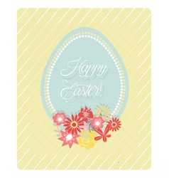 Cute Easter Egg and flowers card vector
