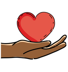 Cute hands with nice heart design vector