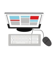 Desk computer topview icon vector