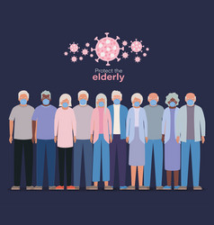 Elder women and men with masks against covid 19 vector