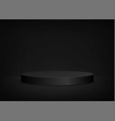 Empty stage black background round podium vector