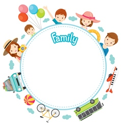 Family Vacation Objects on Round Frame vector