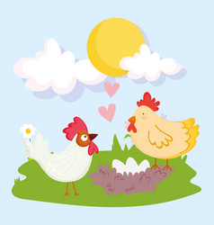 farm animals rooster hen and egg in nest cartoon vector image