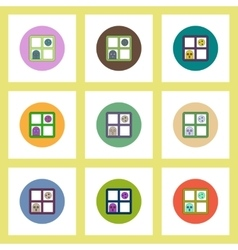 Flat icons Halloween set of ghost and full moon vector