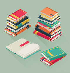 Flat pile books stacked textbooks study vector