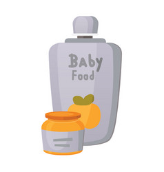 Food for baby cartoon products set vector