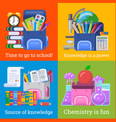 four nice school banners for education design vector image