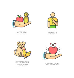 Friendly support rgb color icons set vector