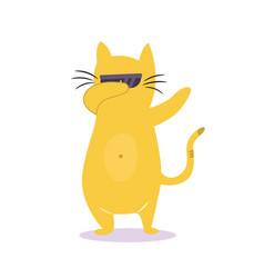 funny dabbing cat in sunglasses vector image