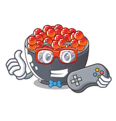 Gamer salmon roe character ready to eat vector