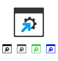 Gear integration calendar page flat icon vector