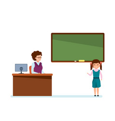 girl tells school material near teacher at lesson vector image