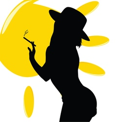 Girl with sun and hat vector
