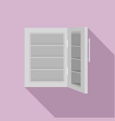 Glass door fridge icon flat style vector