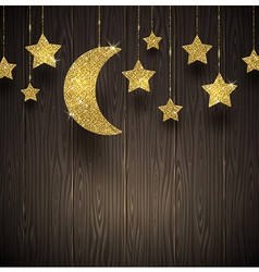 Glitter gold stars and moon on a wooden texture vector
