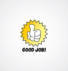 good job thumb up cartoon gesture hand sign vector image