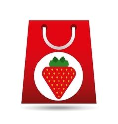 Grocery shopping bag strawberry fruit design vector