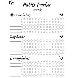Habit tracker template for every day and different vector