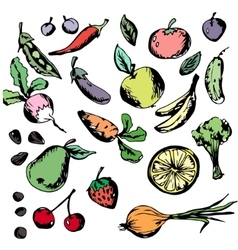 Healthy eating vegetables fruits Banana vector