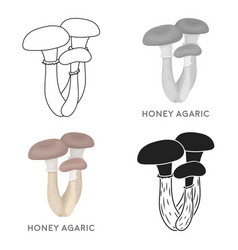Honey agaric icon in cartoon style isolated on vector