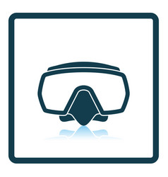 icon of scuba mask on gray background round shadow vector image