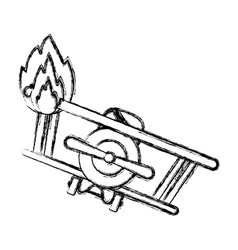 Isolated toy airplane on fire design vector