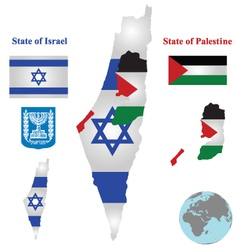 Israel Map Flag vector