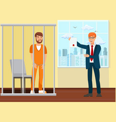 Lawyer and prisoner in court flat vector