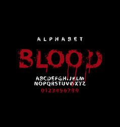 lettering blood and alphabet letters with blots vector image