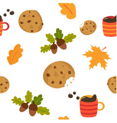 lovely seamless pattern with mug of coffee cookies vector image
