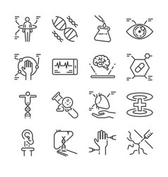 Medical innovation line icon set vector