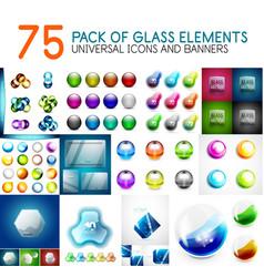 Mega pack of glass glossy design elements vector