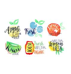 Natural fresh juice bright labels set eco bio vector