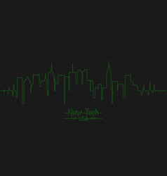 New york city linear banner like heart cardiogram vector