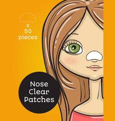 nose clear patches package design cartoon beauty vector image